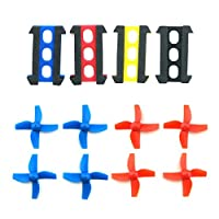 WOSKY RC Micro Quadcopter Frame Black and 8pcs 4-leaf Propellers Blue and Red for H36 E010 Tiny Whoop FPV Drone Parts
