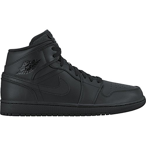 Nike Air Jordan 1 Mid, Chaussures de Basketball Homme Noir (Black/white/black)