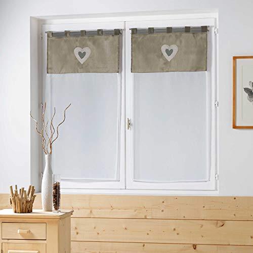 Couleur Montagne Uni Romantis Paire Droite en Shantung Brodée + Voile 2 x 60/160 cm - Taupe/Blanc
