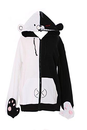 TA-04 Danganronpa Bear Bär schwarz Monokuma Kapuzen Sweatshirt Pullover Hoodie mit Handschuhe Cosplay (XL)