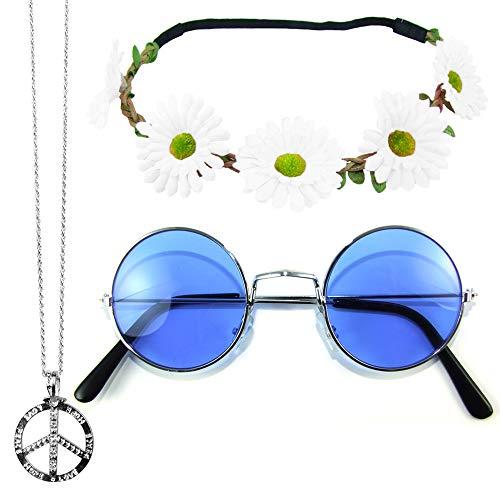 Hippie Set 3-tlg. - Margeriten Haarband, Peace Kette und Lennon Brille - Blau