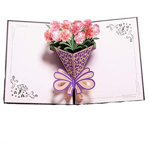 Euone Clearance Sales, romantische 3D-Popup-Grußkarten Karussell Happy Birthday Muttertag Dankeschön Geschenk Casual Multicolora