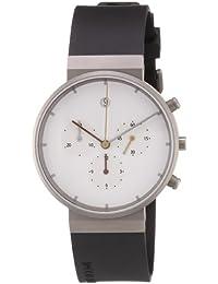 Jacob Jensen Cronografo - Reloj de caballero de cuarzo, correa de goma color negro (con cronómetro)