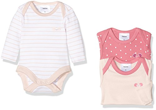 Twins Baby-Mädchen Body langarm, 3er Pack, Rosa (Rosa 3737), 56