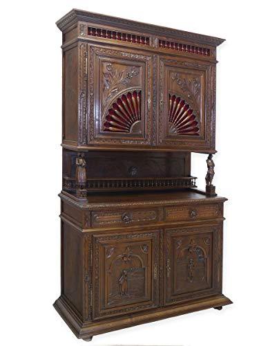 Antike Fundgrube Schrank Buffet Wohnzimmerschrank bretonisch um 1880 Eiche massiv (8326)