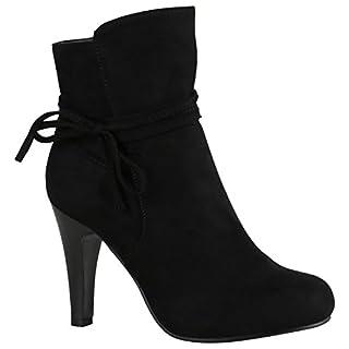 Klassische Damen Stiefeletten High Heels Stilettos Schleifen 151447 Schwarz Schleifen 40   Flandell®