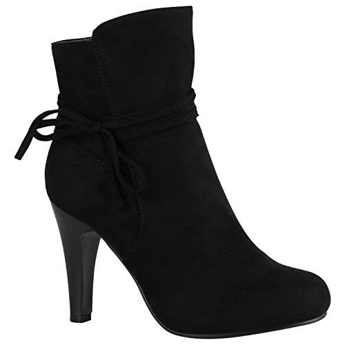 Klassische Damen Stiefeletten High Heels Stilettos Schleifen 151447 Schwarz Schleifen 39 | Flandell® (Leder Stiefeletten High Heel)