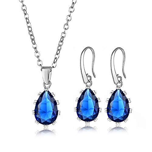 rring Set, Mode Dame AAA zirkon anhänger, ohrring Halskette Herz,Blue ()