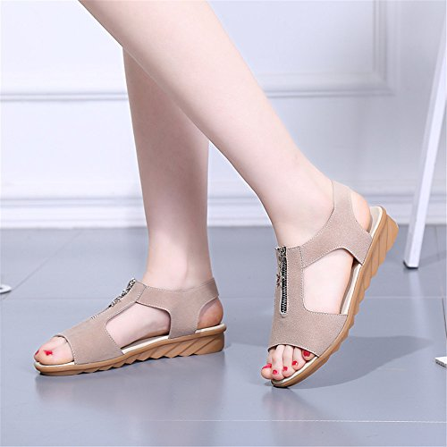Sommer Sandalen weiblichen Flachbild anti-schwangere Frauen Schuhe Kompaktlader Beige