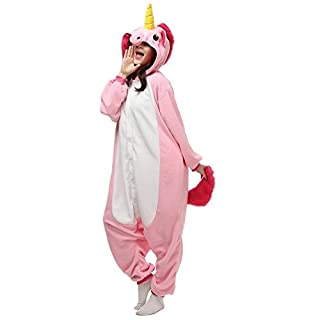 Einhorn Pyjamas Kostüm Sleepsuit Anime Tier Schlafanzug Erwachsene Unisex Cosplay Halloween (Size XL for 178-188CM, Pink)