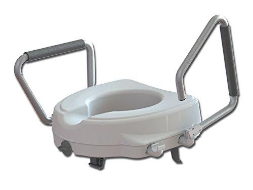 GIMA ES-11-12F-11 Toilettensitzerhöhung mit verstellbarer Armlehne, Höhe 12,5 cm