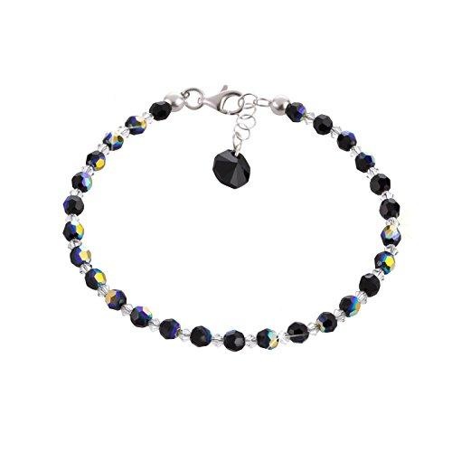 Schöner SD, feines Armband aus 4mm Swarovski® Kristallperlen und 925 Silber, Farbe schwarz