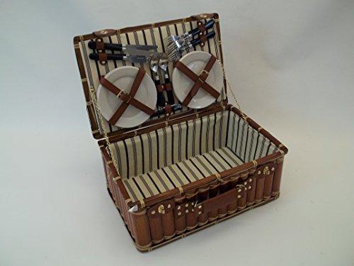 Picknickkorb, Lunchkorb aus Bambus mit 4 Personen-Ausstattung