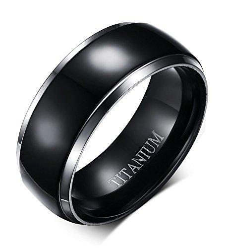 VNOX 8mm Pure Black Titanium Ring for Men with Titanium Engrave,Black Center with 2 Silver Edge Line