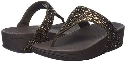 Fitflop Women's Glitterball Post T-strap Sandals, Brown (Bronze Glitter), 6.5 Uk 40 Eu