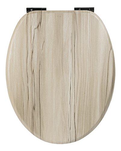 C-Sitz Marrocino - WC Brille mit Absenkautomatik - Toilettensitz mit Holz-Kern & Metall-Scharnier ()