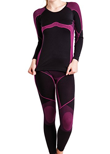 Gomati Damen Ski-, Thermo- & Funktionswäsche Set Seamless Schwarz/Pink - L/XL -
