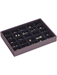 STACKERS 'CLASSIC SIZE' Purple 25 Section STACKER Jewellery Box with Purple Velvet Finish Lining.