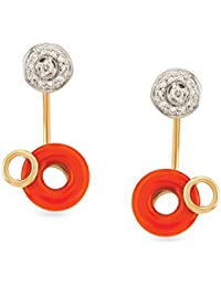 Mia by Tanishq 14KT Yellow Gold, Diamond and Coral Drop Earrings for Women