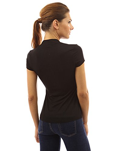 ac9dc3e867012f PattyBoutik Damen Bolero Bluse mit Knöpfen und kurzen Ärmeln Schwarz