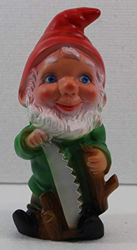 RAKSO Deko Figur Zwerg H 19,5 cm Gartenzwerg mit Säge stehend Gartenfigur aus Kunststoff