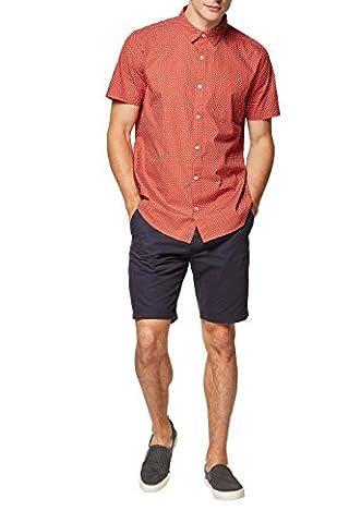 next Herren Gemustertes Hemd mit kurzen Aermeln Regular L Orange