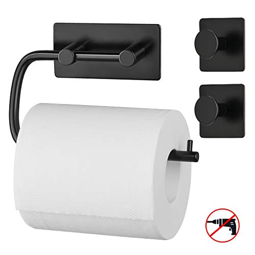 Maidmax porta carta igienica con 2 ganci asciugamani, portarotolo carta igienica acciaio inossidabile, porta rotolo carta igienica alla parete per bagno, 3m autoadesivo senza foratura, colore nero
