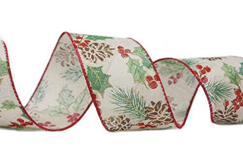 Holiday Weihnachtsband mit Draht, 6,4 cm breit, Jute, Beeren, Tannenzapfen
