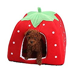 Rrimin Strawberry Pet Dog Cat Bed House Kennel Doggy Puppy Basket Pad (Red XL)