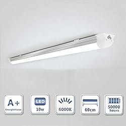 OUBO 60cm LED Leuchtstoffröhre komplett Set mit Fassung kaltweiss 6000K 10W 1300lm Lichtleiste Unterbauleuchte Küchenlampe Schrankleuchte Deckenleuchte led strip