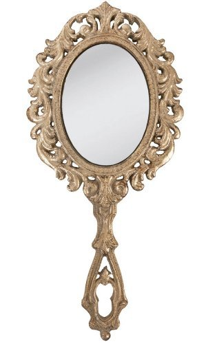 Clayre & eef specchio a mano 28cm oro colori neu grande specchio parrucchiere specchio nostalgico vintage shabby chic 62s009