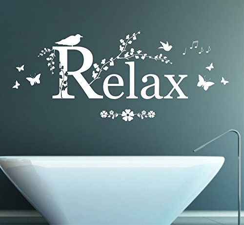 Relax Quote, Vinyl Wall Art Sticker, Mural, Decal. Home, Wall Decor, Bathroom, Bedroom, Living room