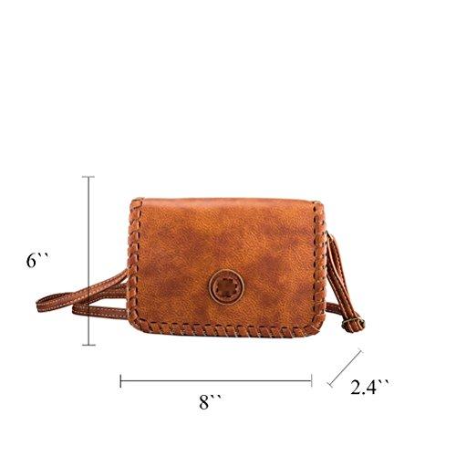 Honeymall Borsa a tracolla donna Clutch Elegante Portafoglio Multifunzionale per Donna Marrone Marrone
