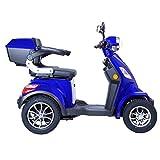 Elektroroller 4-Rad, Elektromobil für Senioren, E-Mobil, Seniorenfahrzeug, 55km 1000W 25 Km/h, Blau