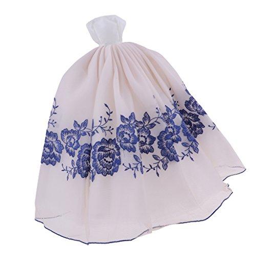 Baoblaze Hübsche Puppe Hochzeitskleid Trägerlose Brautkleid Abendkleid Prinzess Party Kleid für...
