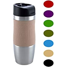 Vacuum Insulated Premium Quality Travel Mug, One-Handed Open and Drink, Double Walled and Leakproof for any Hot and Cold Drink (400 ml, 13.5 oz) (Brown)