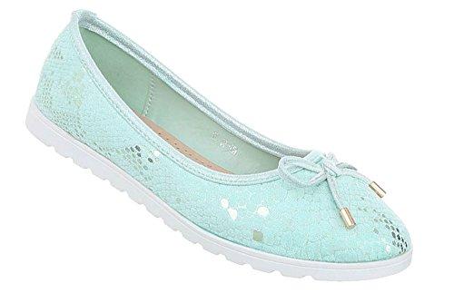 Damen Schuhe Ballerinas Pumps Türkis 39