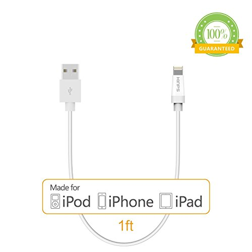 [Apple MFI Certified]Kinps®1FT 8 pin Lightning Cable USB Cable Sync Charger Data Cord for Apple iPhone 5 / 5s / 5c / 6 / 6 Plus, iPod 7, iPad mini / mini 2/ mini 3, iPad Air / iPad Air 2(white)