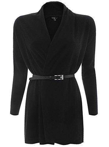 oodji Collection Damen Verschlussloser Cardigan mit Gürtel, Schwarz, DE 34 / EU 36 / XS (Damen Smoking Jacke Kostüm)