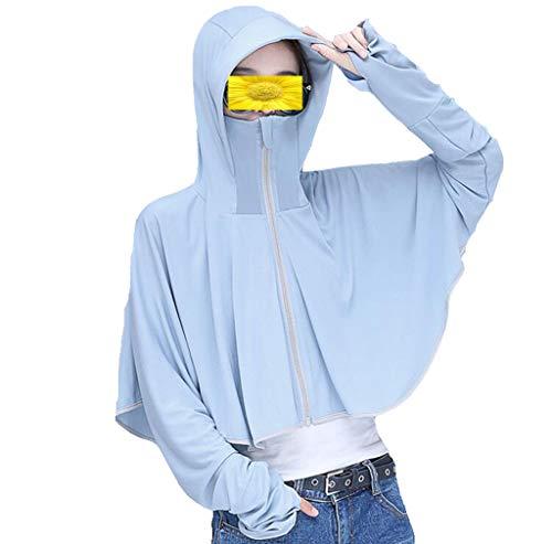 Frauen UPF 50+ UV Sonnenschutz Langarmjacke mit Hut Sunblock Schutzhandschuhe Laufen Golf Radfahren Fahren Outdoor-Reisen,C,XL