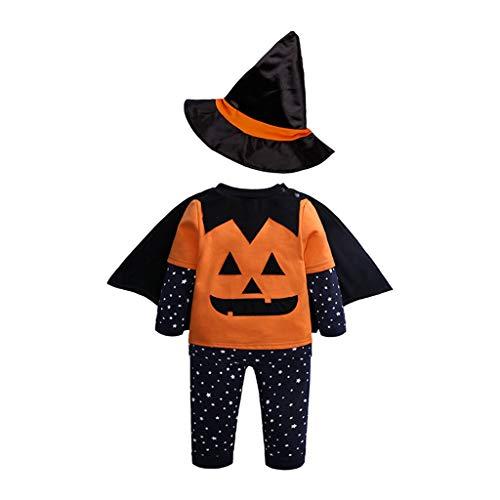 BWNWPH Halloween Kürbis Set Baby Kind Langarm Hosen Hut Mantel Vier Stück (Color : A, Size : 100)