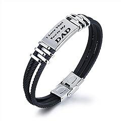 Idea Regalo - Gkmamrg Padre Tags regalo da uomo, BRACCIALE CON INCISIONE I Love That you' re my dad silicone nero acciaio inossidabile intrecciato braccialetto con scatola regalo per papà papà regalo