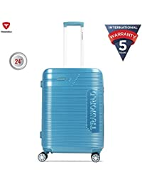 Traworld Booster Premium ABS Polycarbonate 66cm Blue Hardside 8 Wheels Spinner Travel Trolley Luggage Suitcase with Built-in TSA Lock