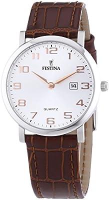 Festina Klassik F16477/2 - Reloj analógico de cuarzo para mujer, correa de cuero color marrón