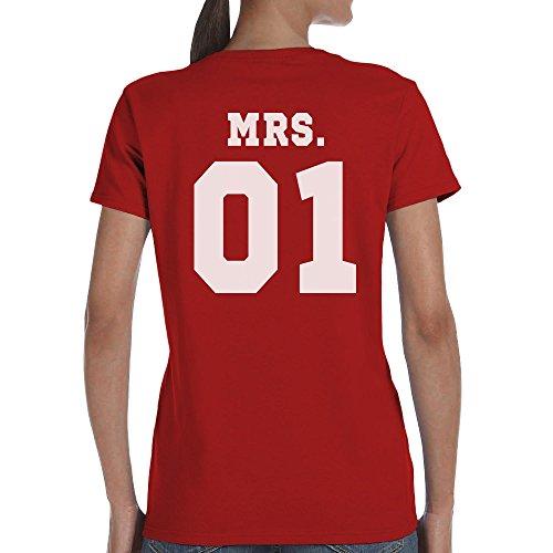 Mr und Mrs - Schönes Pärchen Geschenk mit WUNSCHZAHL T-Shirt mrs-Rot