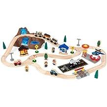 KidKraft 17826 Circuito de tren de juguete de madera para niños Bucket Top Mountain con recipiente de almacenaje y 61 piezas de juego incluidas