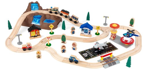 KidKraft 17826 Circuit de train en bois Bucket Top Mountain, jouet enfant incluant 61...