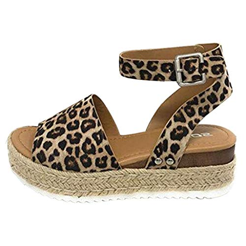 Damen Sandalen für Damen Plateau Wedges Flache liusdh,Women Summer Fashion Sandals Buckle Strap Wedges Leopard Retro Peep Toe Sandals(BW,38) Buckle Strap Sandal