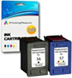 Printing Pleasur Remanufactured Ink Cartridges Replacement for HP 56 & HP 57 (Black, Colour, 2-Pack)