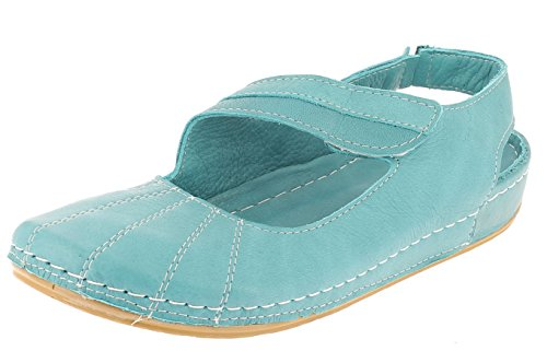 Andrea Conti Damen 0021562 Geschlossene Sandalen mit Keilabsatz Türkis
